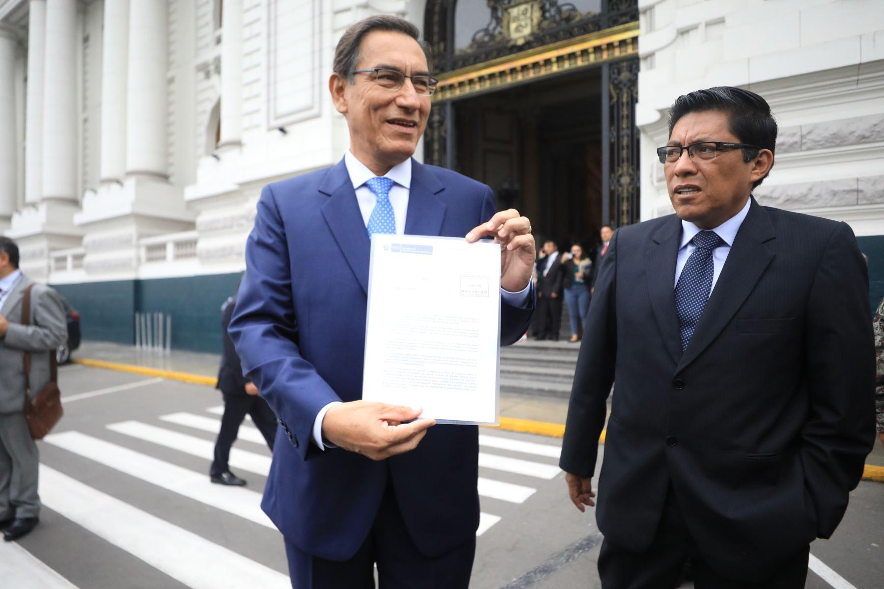 Declaraciones del presidente Vizcarra en el Congreso de la República. Foto: ANDINA/MINJUS/Carolina Urra