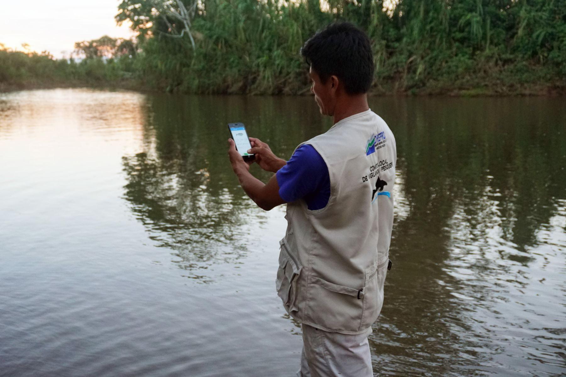 Con aplicativo para celulares pobladores asháninkas fortalecen monitoreo de pesca en cuenca del río Pichis, en Pasco. ANDINA/Difusión