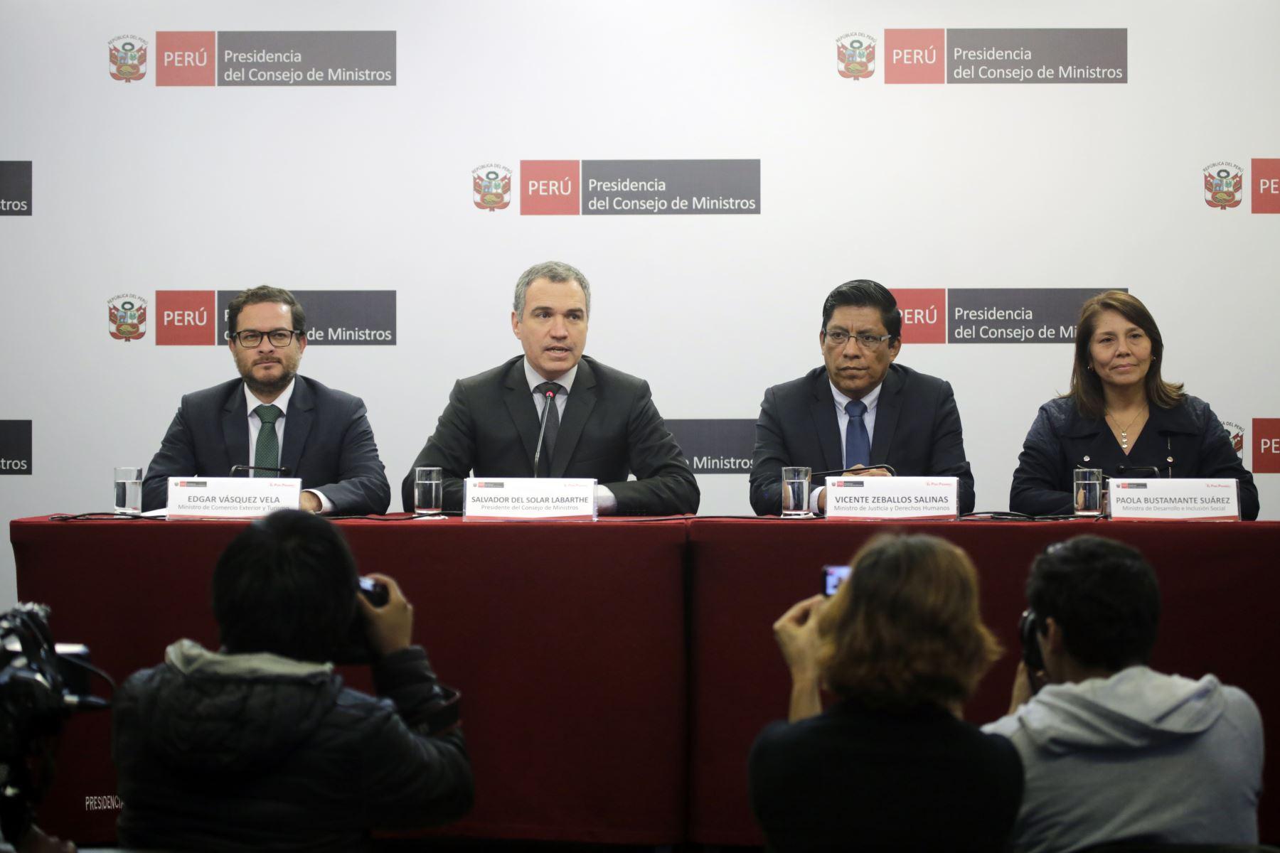 Conferencia de prensa del Primer Ministro, Salvador del Solar. Foto: ANDINA/PCM