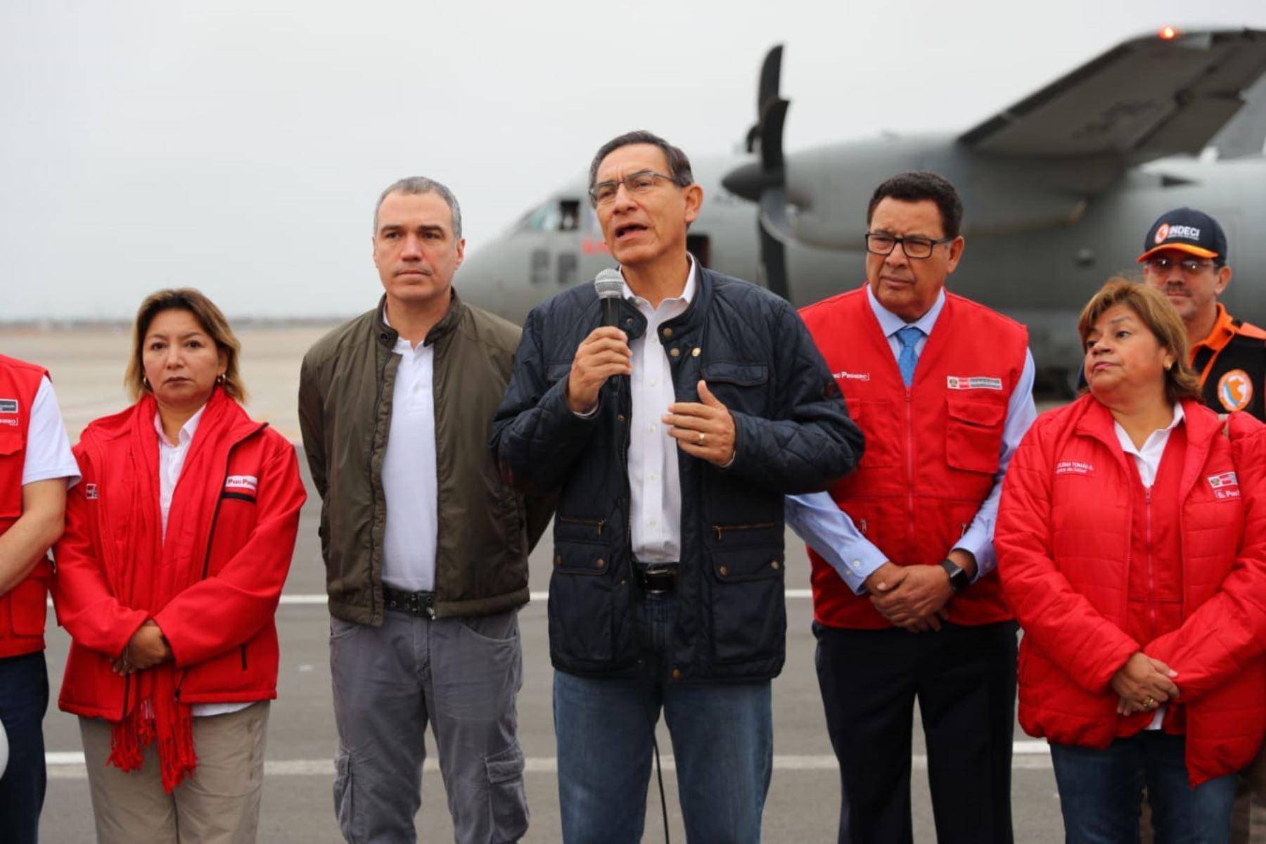 El presidente de la República, Martín Vizcarra viajó a Yurimaguas y otros ministros de Estado se trasladaron a las zonas afectadas por el sismo de magnitud 7.5.Foto: ANDINA/Prensa Presidencia