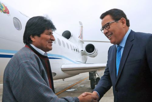 Presidente de Bolivia Evo Morales, llega a Lima para participar de los 50 años de la CAN