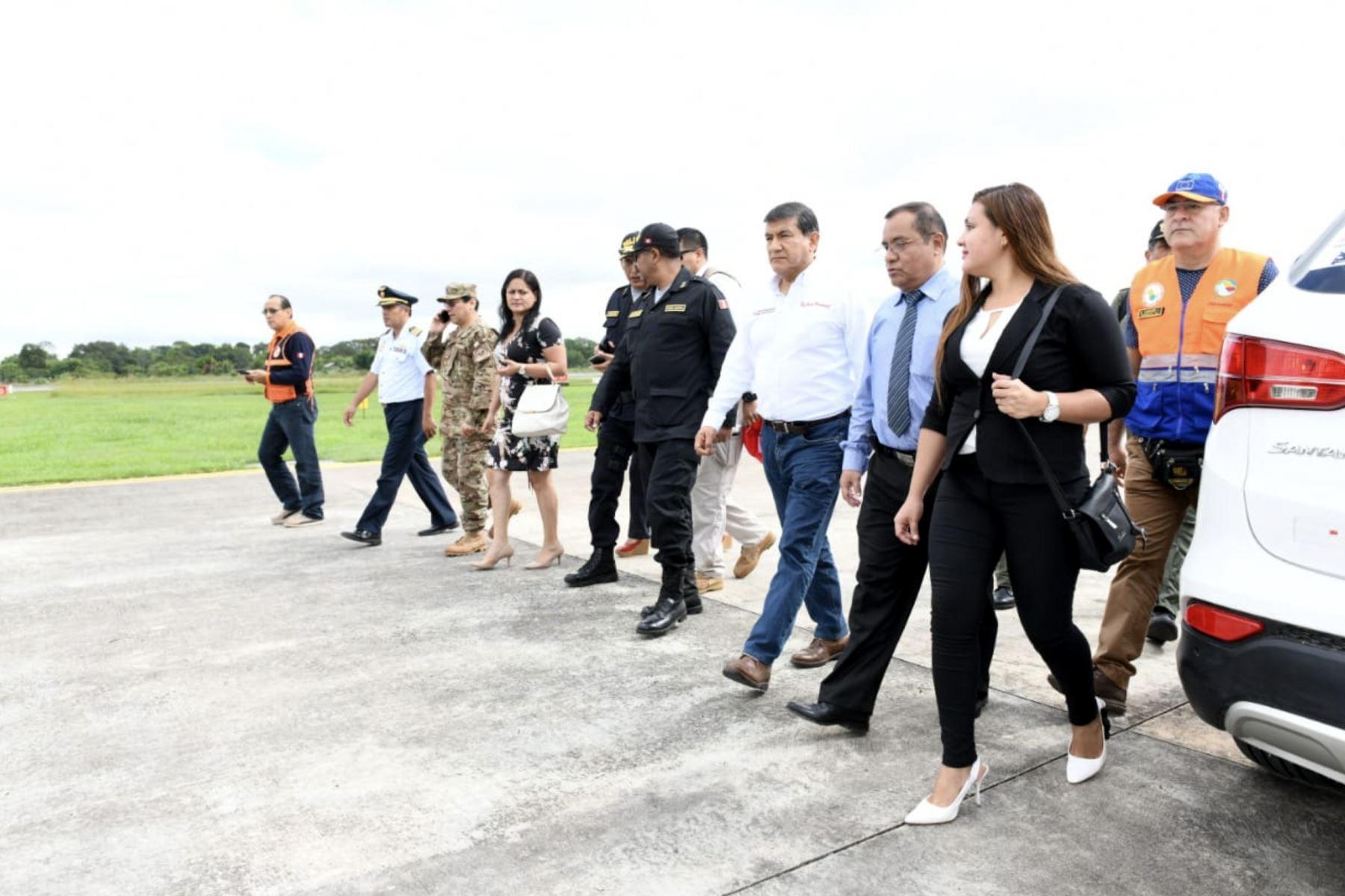 El ministro del Interior, Carlos Morán, llega a Pucallpa tras el sismo de magnitud 7.5 registrado esta madrugada. Foto: ANDINA/MININTER