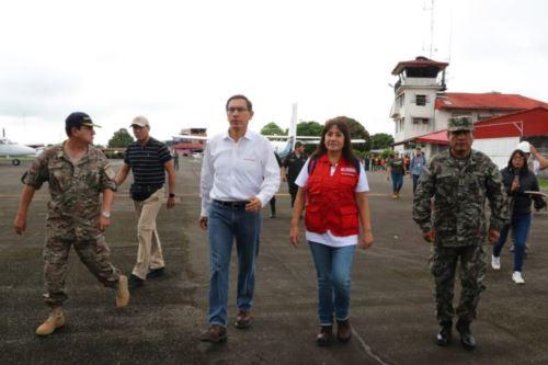 Presidente Vizcarra llegó Yurimaguas para evaluar daños por sismo