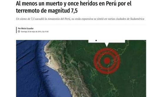 Así informó la prensa internacional sobre terremoto en PERÚ