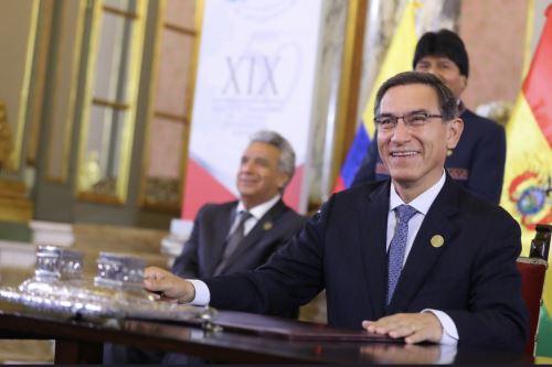 Presidente Vizcarra  junto a sus homólogos  de Bolivia, Ecuador y Colombia  firman acuerdos de integración al cumplirse 50 años  de la Comunidad Andina - CAN
