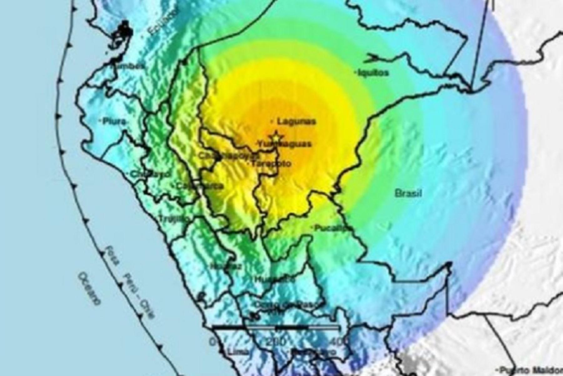 Sismo de magnitud 8.0 en el distrito de Lagunas, provincia de Alto Amazonas, región Loreto.