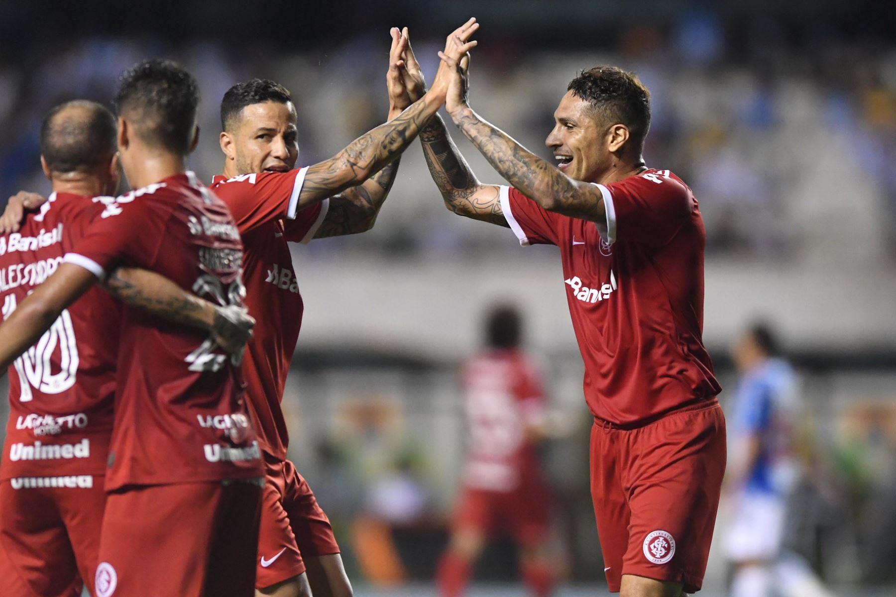 Paolo Guerrero anotó su octavo gol con el Internacional por la vuelta de octavos de final de la Copa Brasil. Foto: Ricardo Duarte/ Internacional
