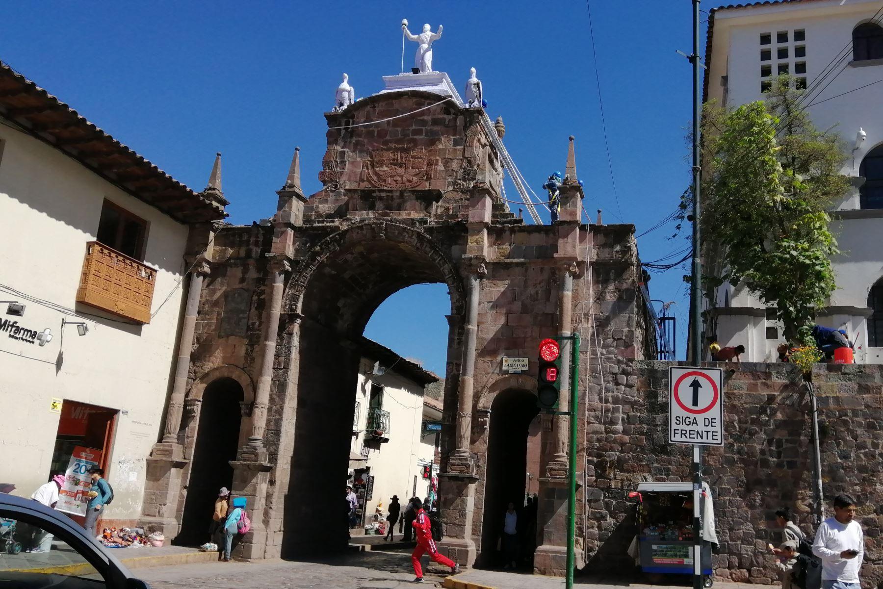 Cusco inicia la recuperación de monumento histórico El Arco de Santa Clara. Foto: ANDINA/Percy Hurtado Santillán.
