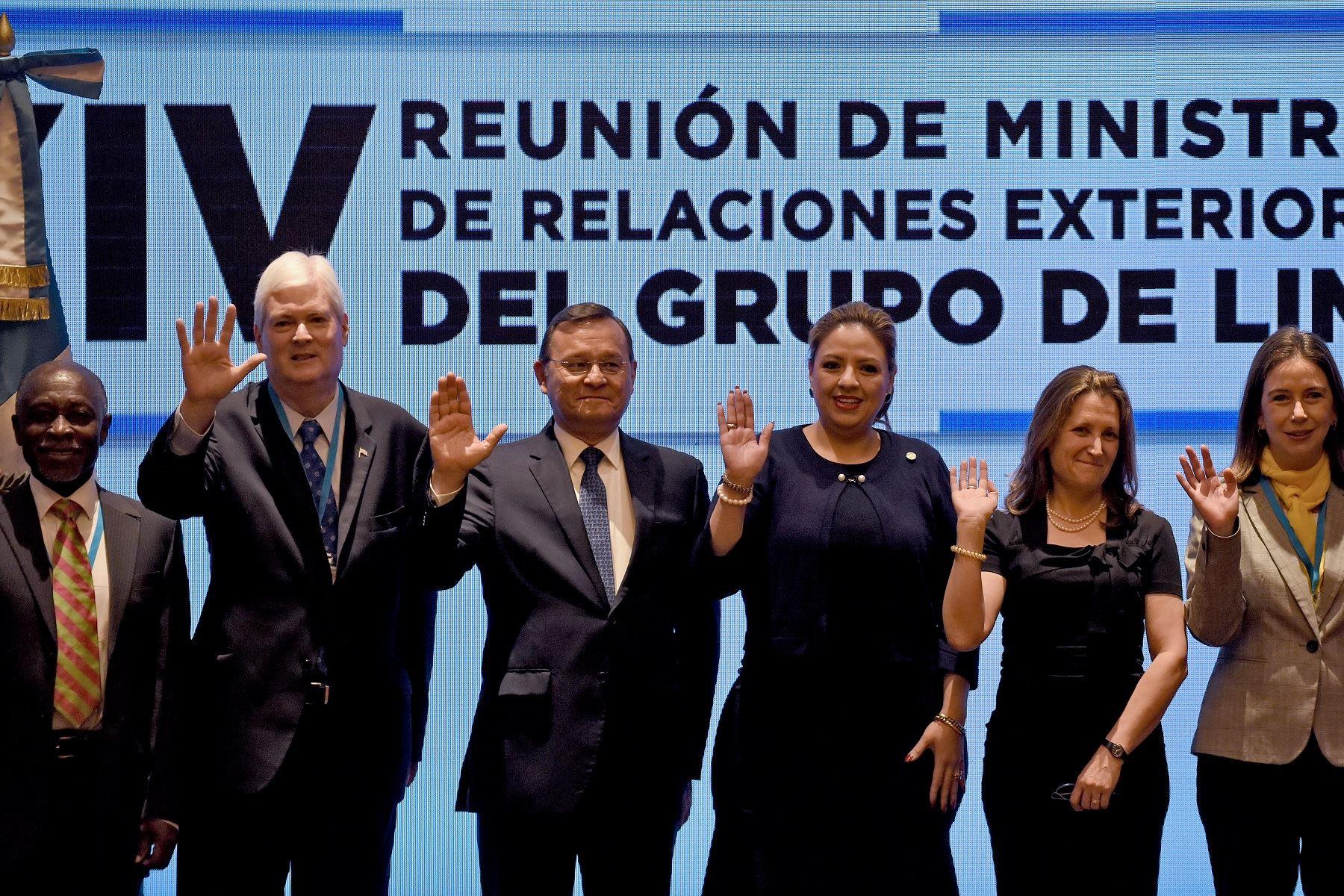 Reunión de ministros de Relaciones Exteriores del Grupo de Lima en Guatemala. Foto: AFP.
