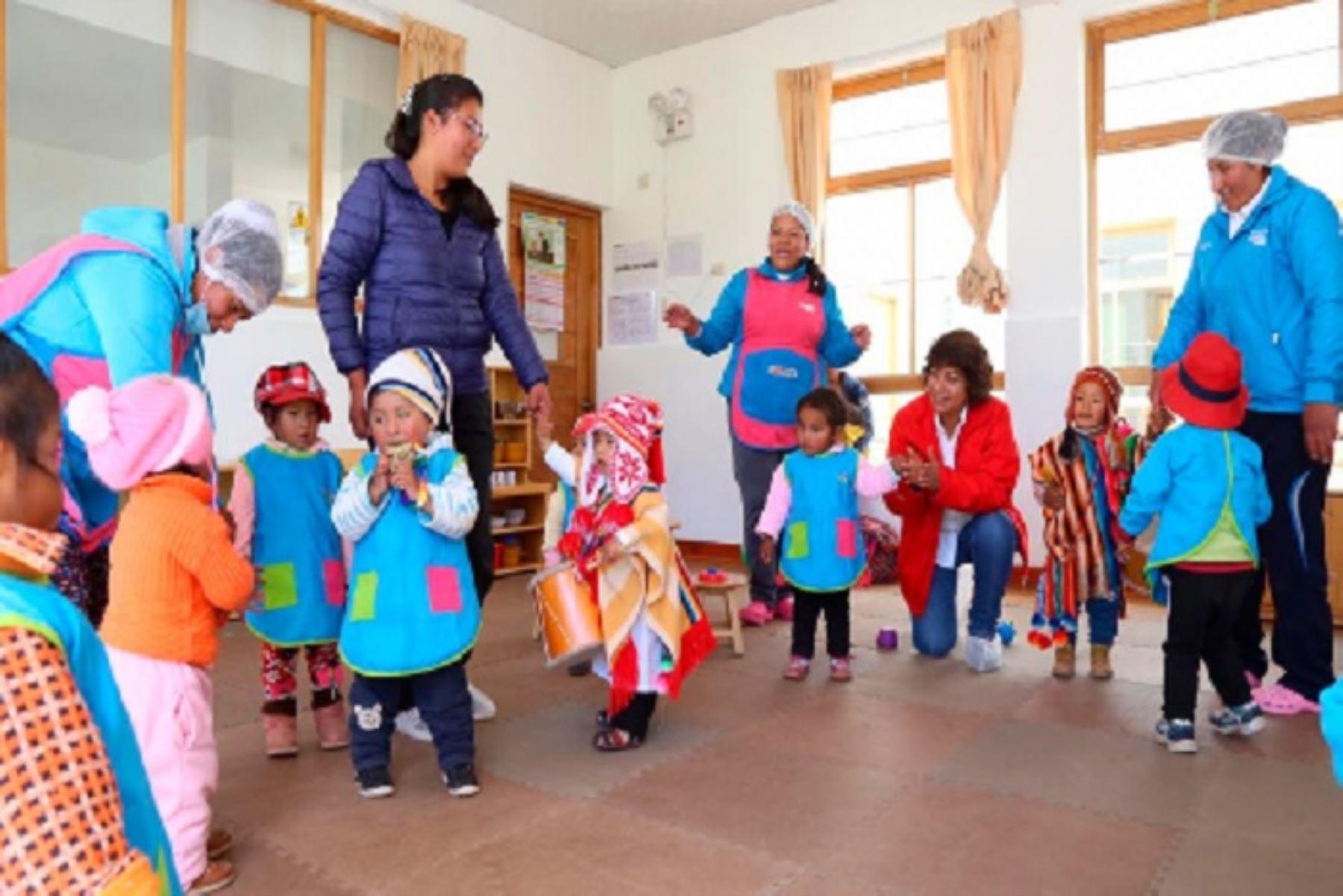 """A la fecha, el Programa Nacional Cuna Más (PNCM) del Ministerio de Desarrollo e Inclusión Social (Midis), entregó 10,671 kits de abrigo para menores, gestantes y actores comunales de sus servicios de Acompañamiento a Familias (SAF) y de Cuidado Diurno (SCD), en el departamento de Puno, dentro del """"Plan Multisectorial ante Heladas y Friaje 2019-2021""""."""