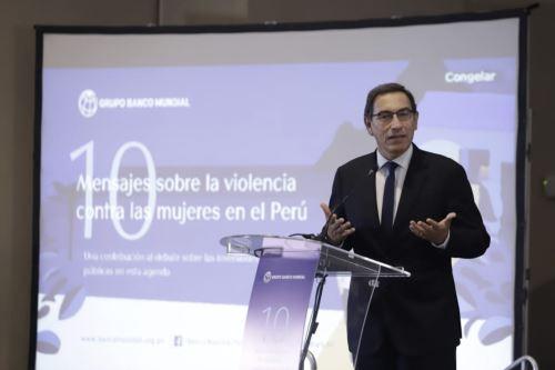 """Presidente Vizcarra participa en la presentación del estudio """"10 mensajes sobre la violencia contra las mujeres en el Perú"""""""