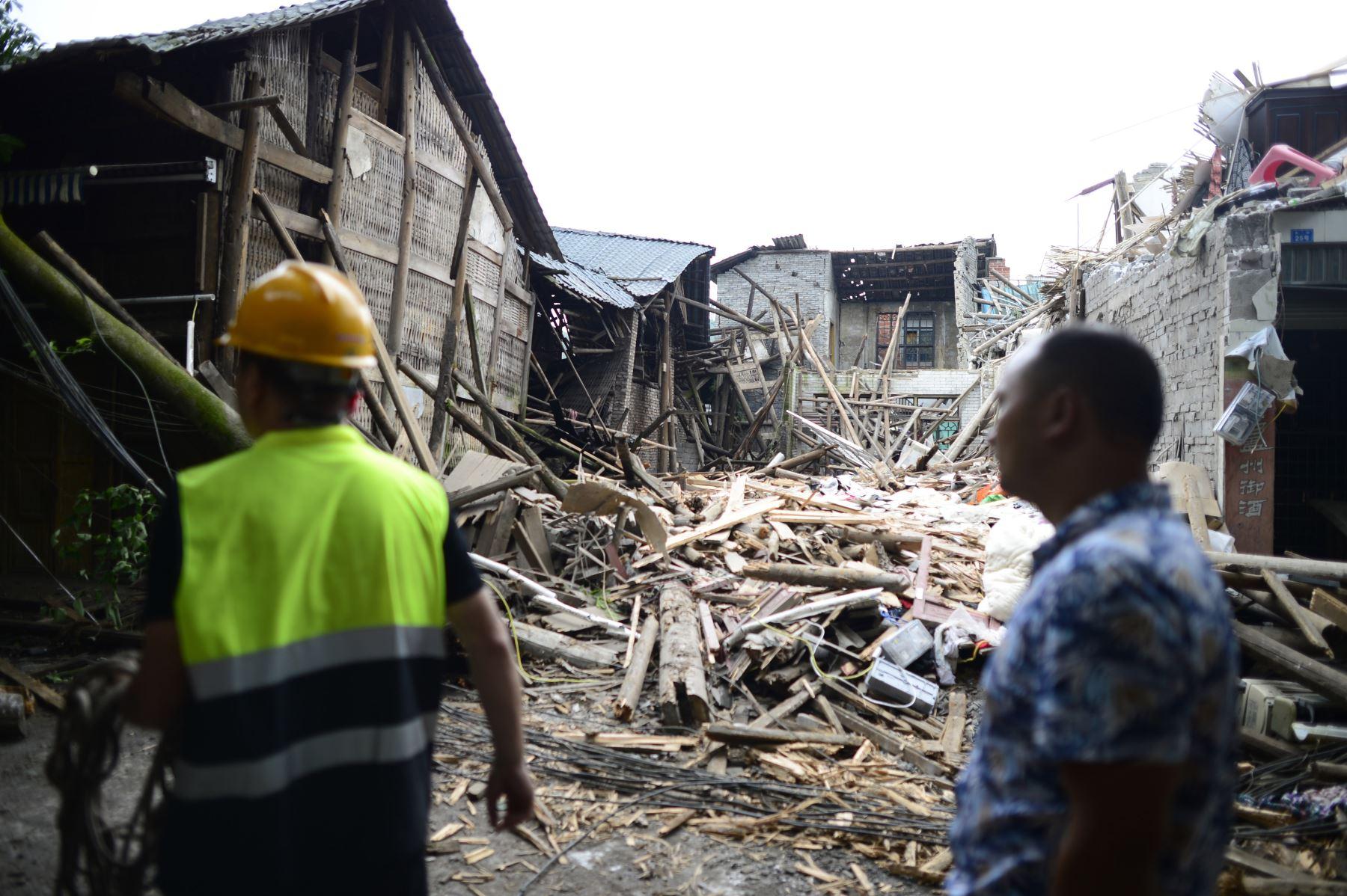 Edificios dañados por el terremoto en Yibin, en la provincia de Sichuan, suroeste de China. Foto: AFP