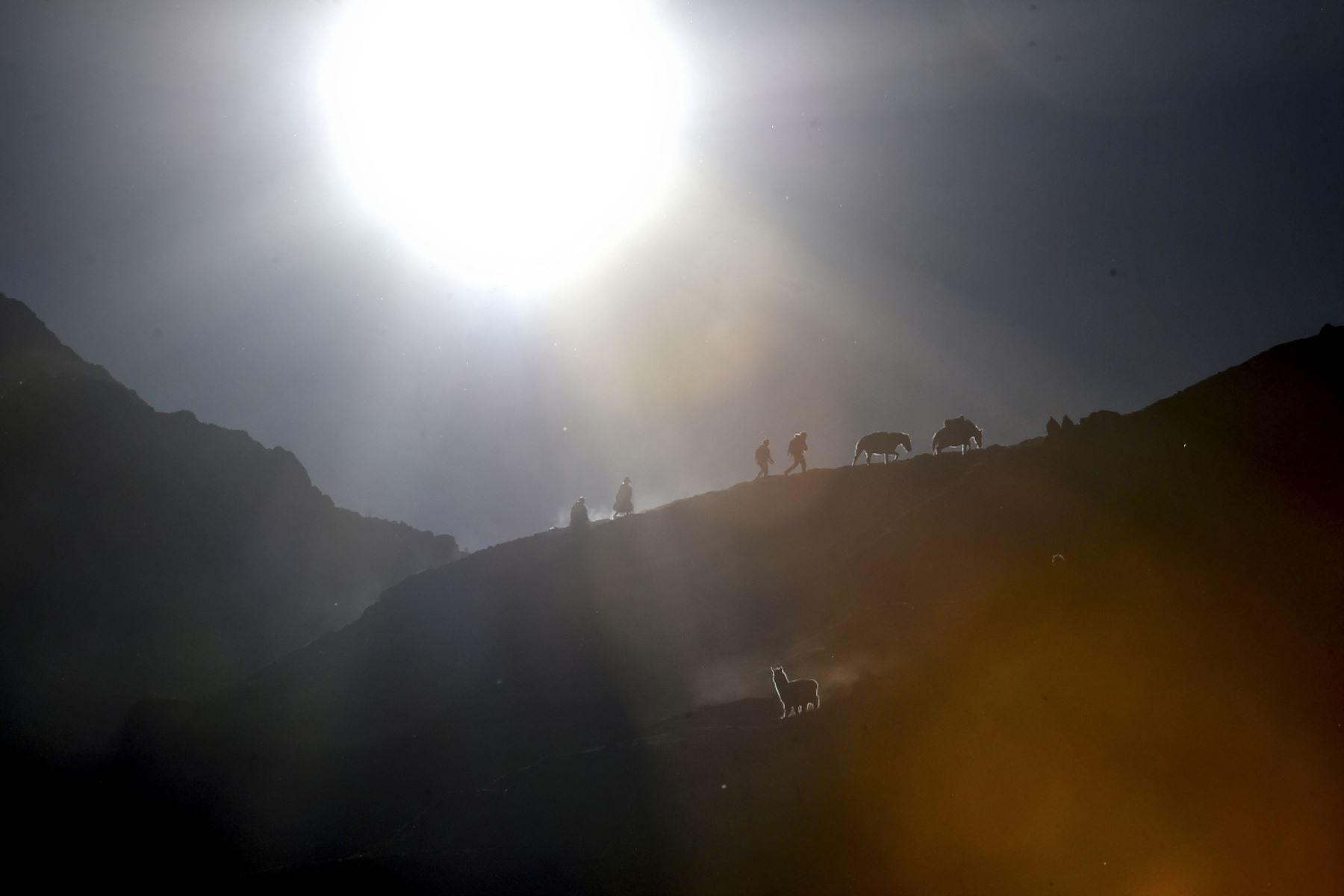 Comerciantes y turistas caminan 8 kilómetros antes de llegar al santuario del Señor de Qoylluriti.  Foto: Cortesía/ José Sotomayor