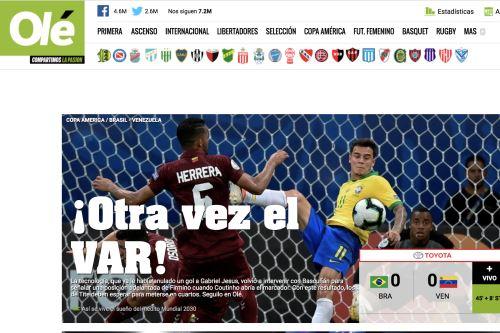 Así informa la prensa mundial: Venezuela y el VAR frenan a Brasil (0-0) en la Copa América