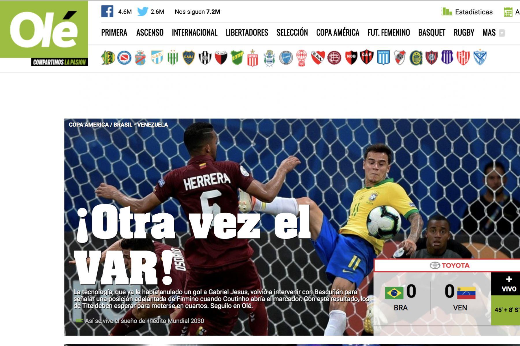 Diario Olé. Así informó la prensa mundial el empate entre Brasil y Venezuela por la Copa América 2019.Foto: ANDINA/Difusión