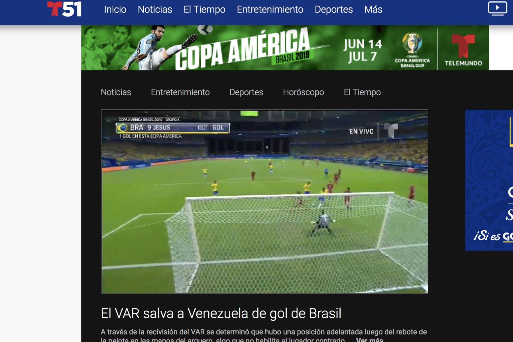 T51. Así informó la prensa mundial el empate entre Brasil y Venezuela por la Copa América 2019.Foto: ANDINA/Difusión