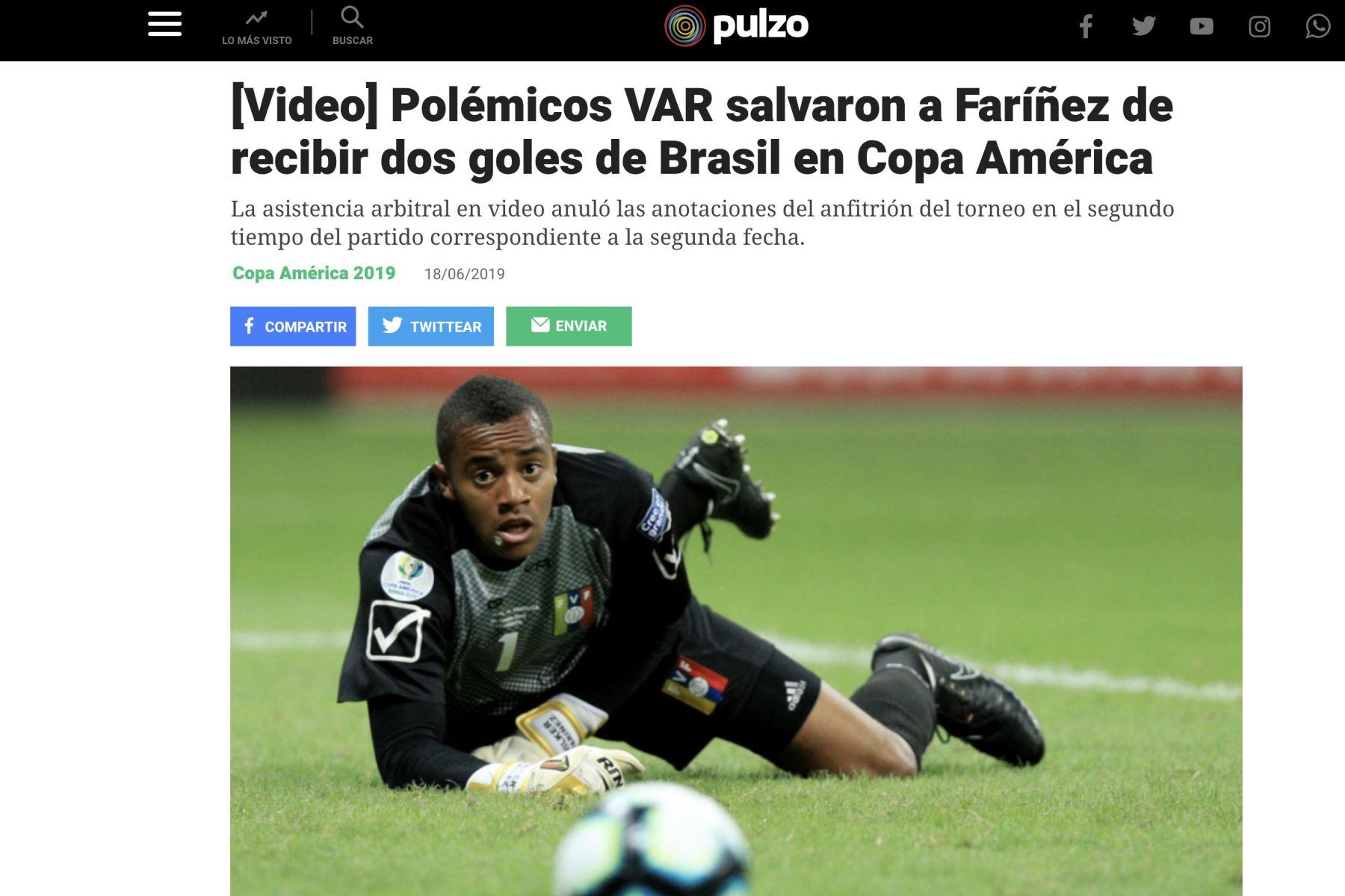 Diario Pulzo. Así informó la prensa mundial el empate entre Brasil y Venezuela por la Copa América 2019.Foto: ANDINA/Difusión