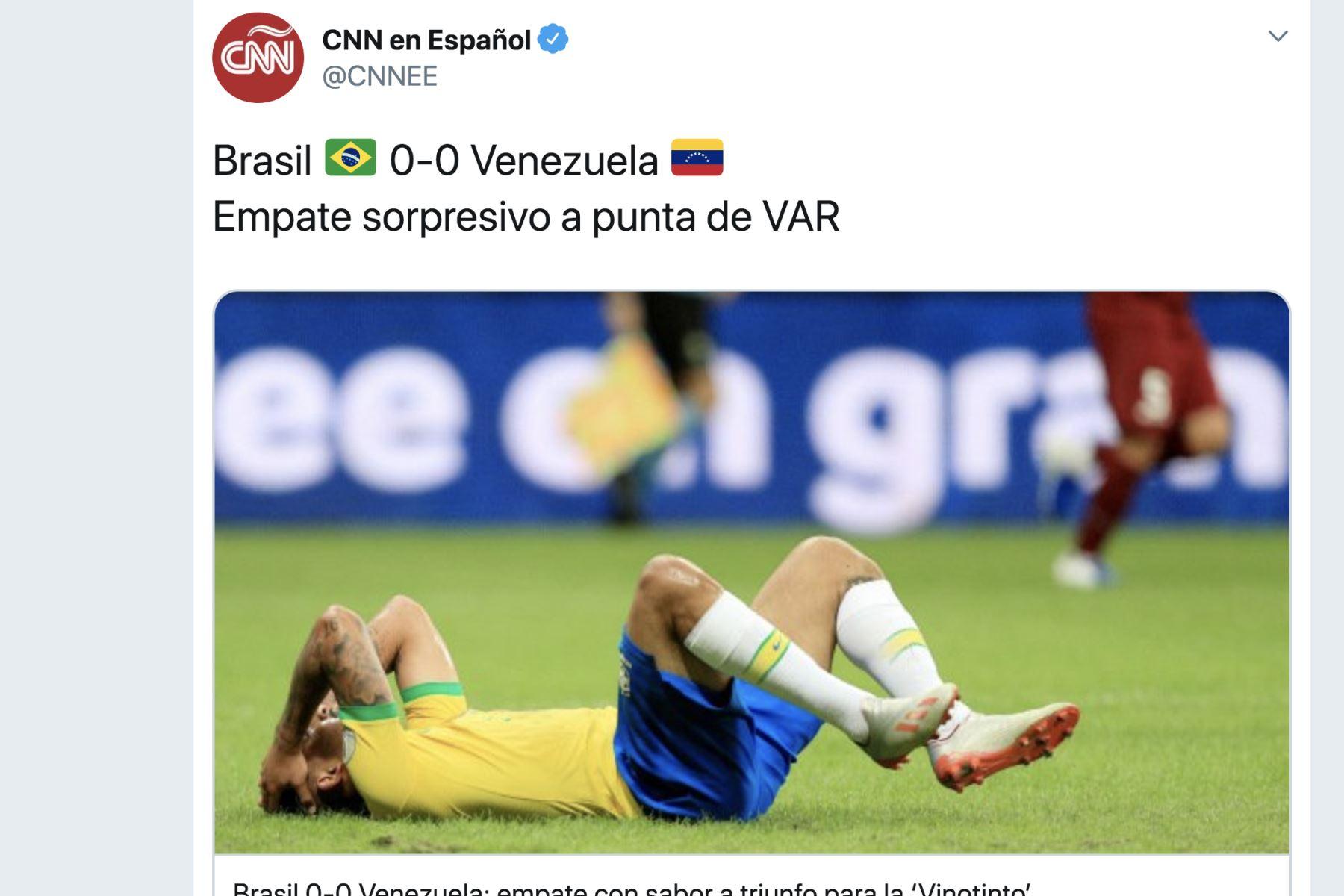 CNN en Español. Así informó la prensa mundial el empate entre Brasil y Venezuela por la Copa América 2019.Foto: ANDINA/Difusión