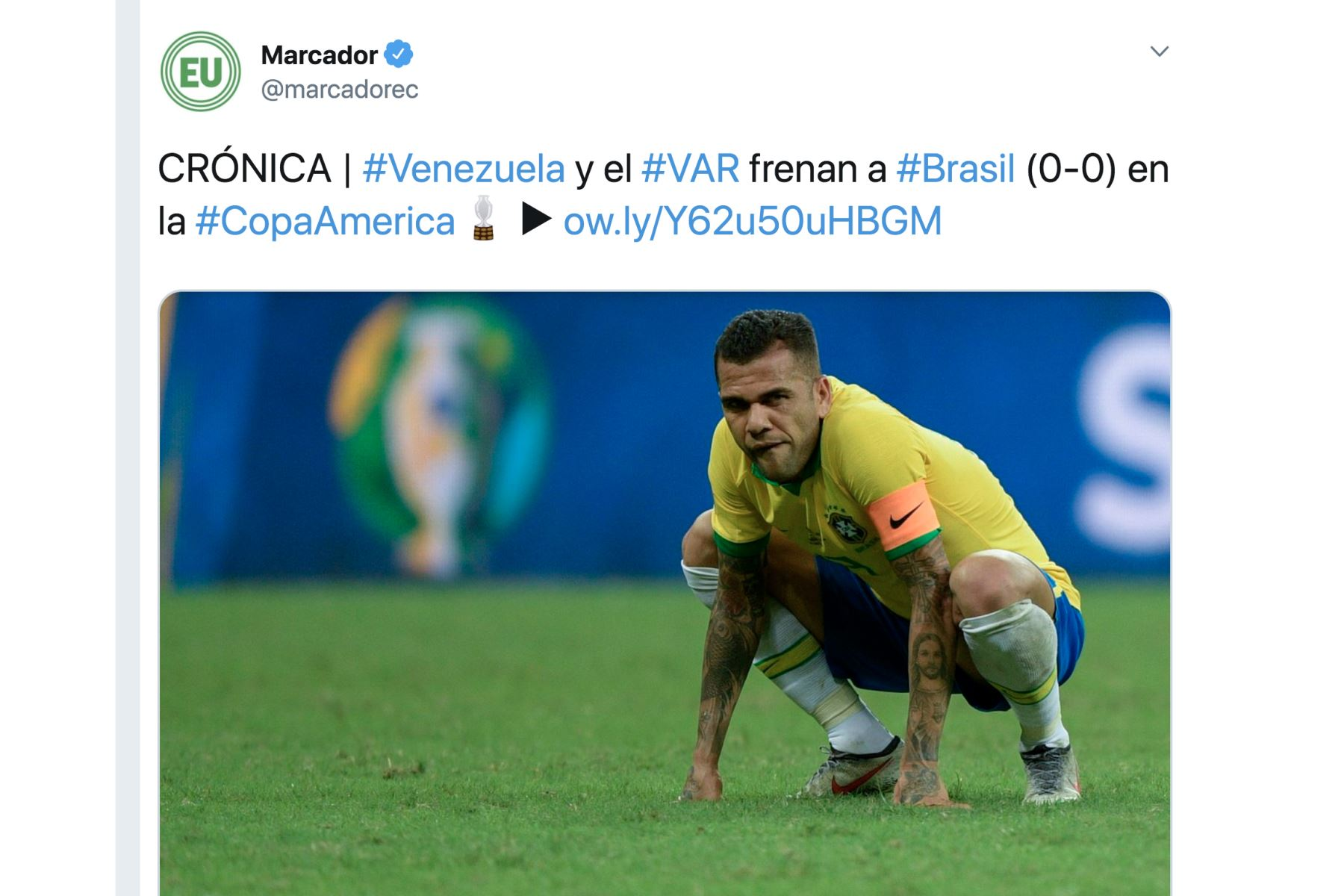 Diario Marcador. Así informó la prensa mundial el empate entre Brasil y Venezuela por la Copa América 2019.Foto: ANDINA/Difusión