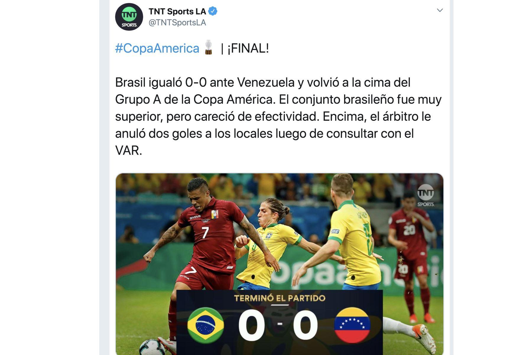 TNT Sports LA. Así informó la prensa mundial el empate entre Brasil y Venezuela por la Copa América 2019.Foto: ANDINA/Difusión