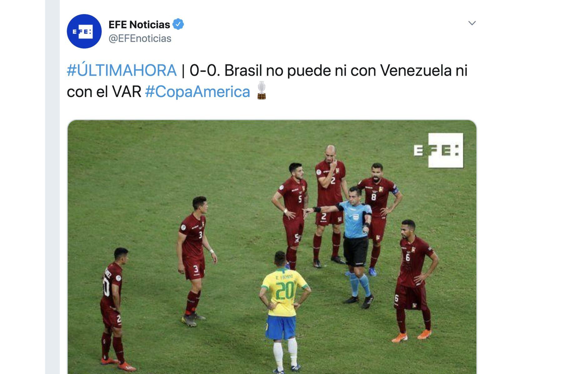 EFE Noticias. Así informó la prensa mundial el empate entre Brasil y Venezuela por la Copa América 2019.Foto: ANDINA/Difusión