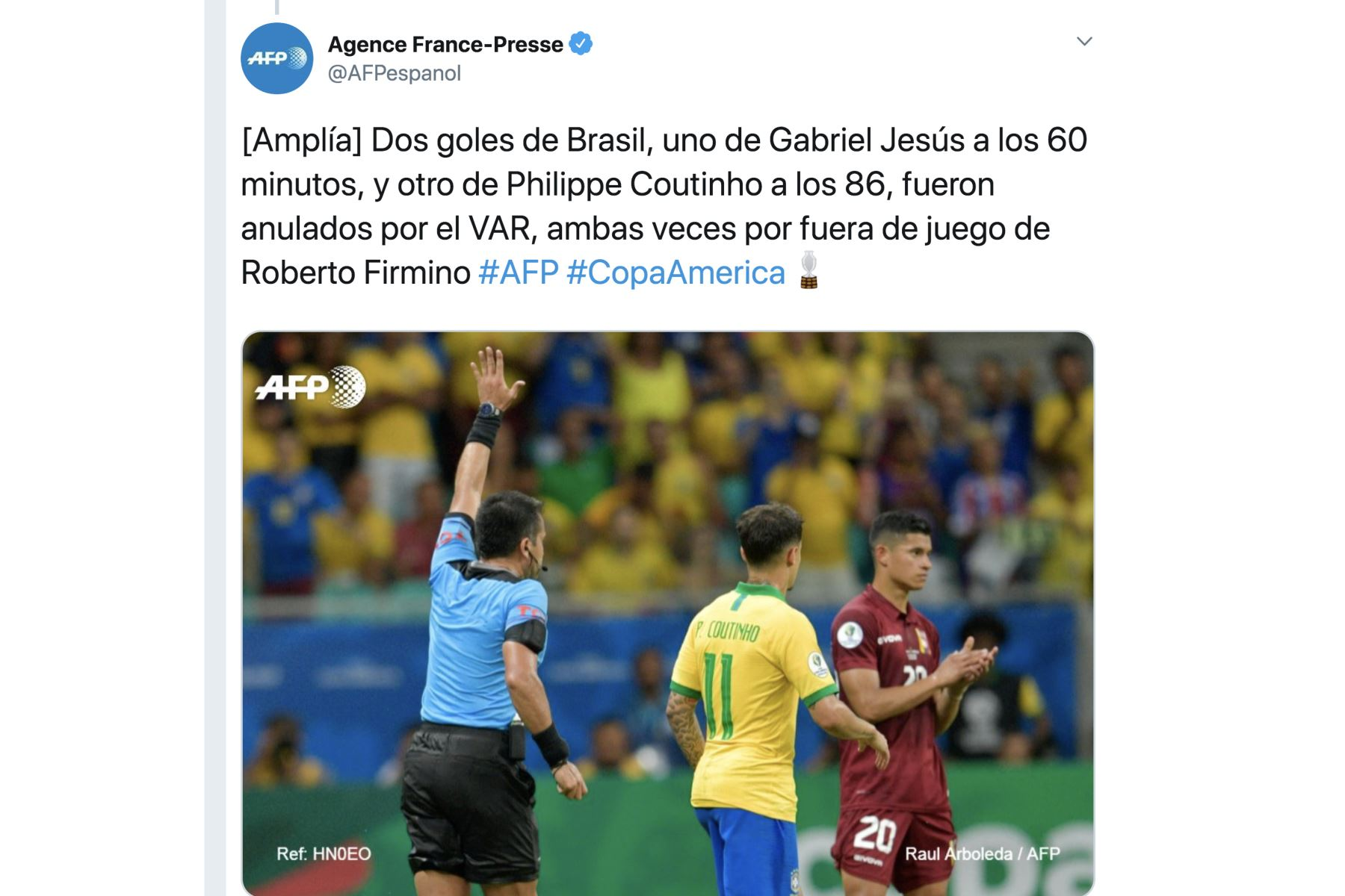 Agencia France Presse. Así informó la prensa mundial el empate entre Brasil y Venezuela por la Copa América 2019. Foto: ANDINA/Difusión
