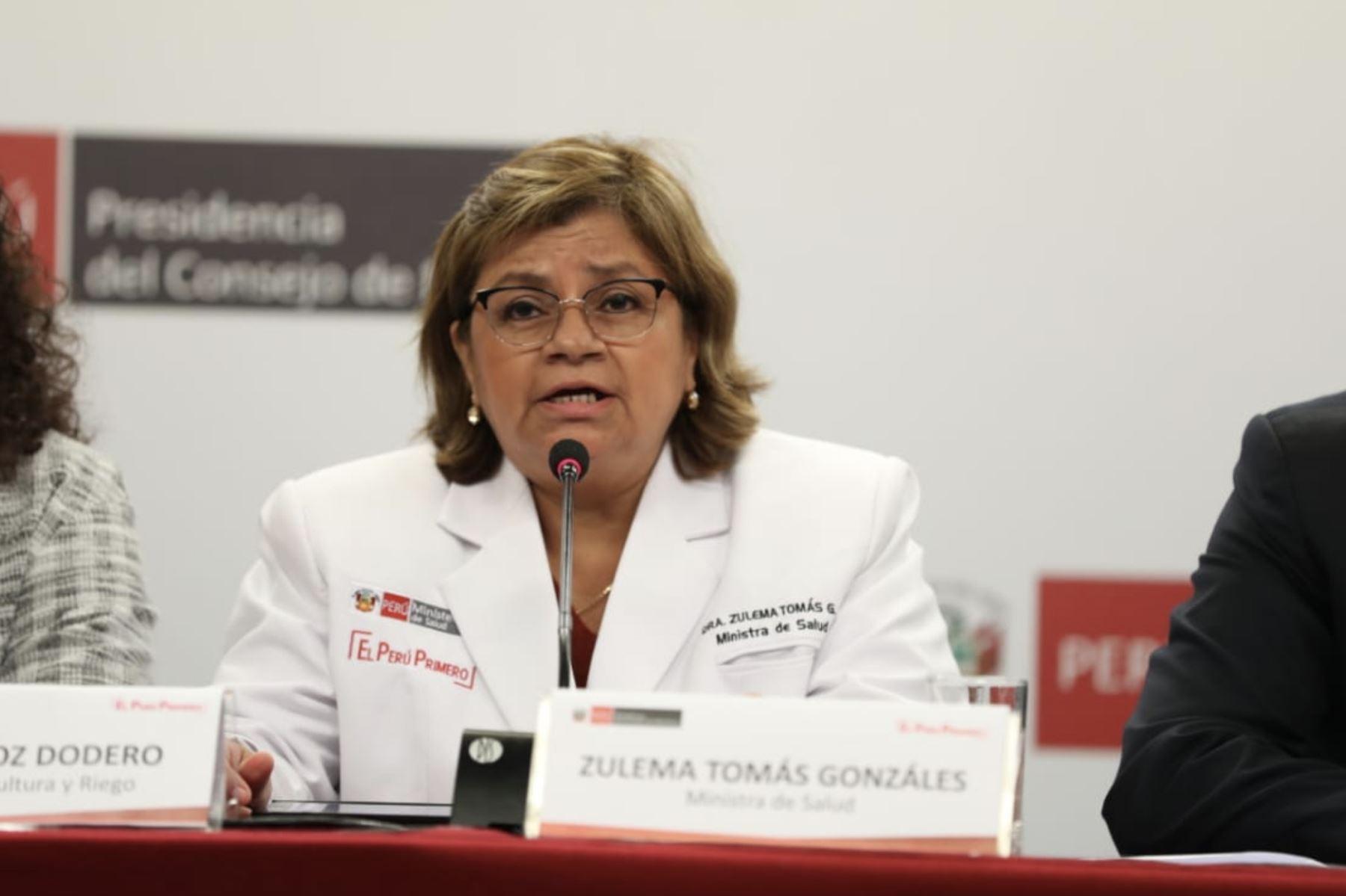 Ministra de Salud, Zulema Tomás participa en conferencia de prensa junto al  primer Ministro Del Solar. Foto: ANDINA/PCM