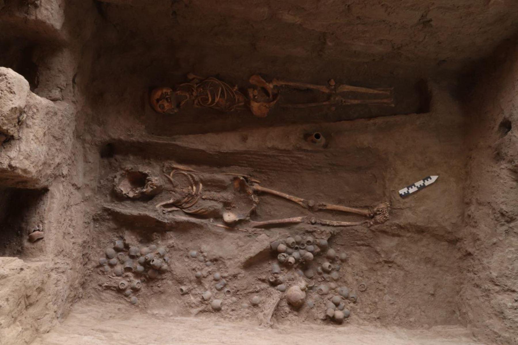 En la huaca Santa Rosa de Pucalá, región Lambayeque, se descubrió una cámara funeraria perteneciente a la última mujer de la élite mochica. ANDINA/Difusión