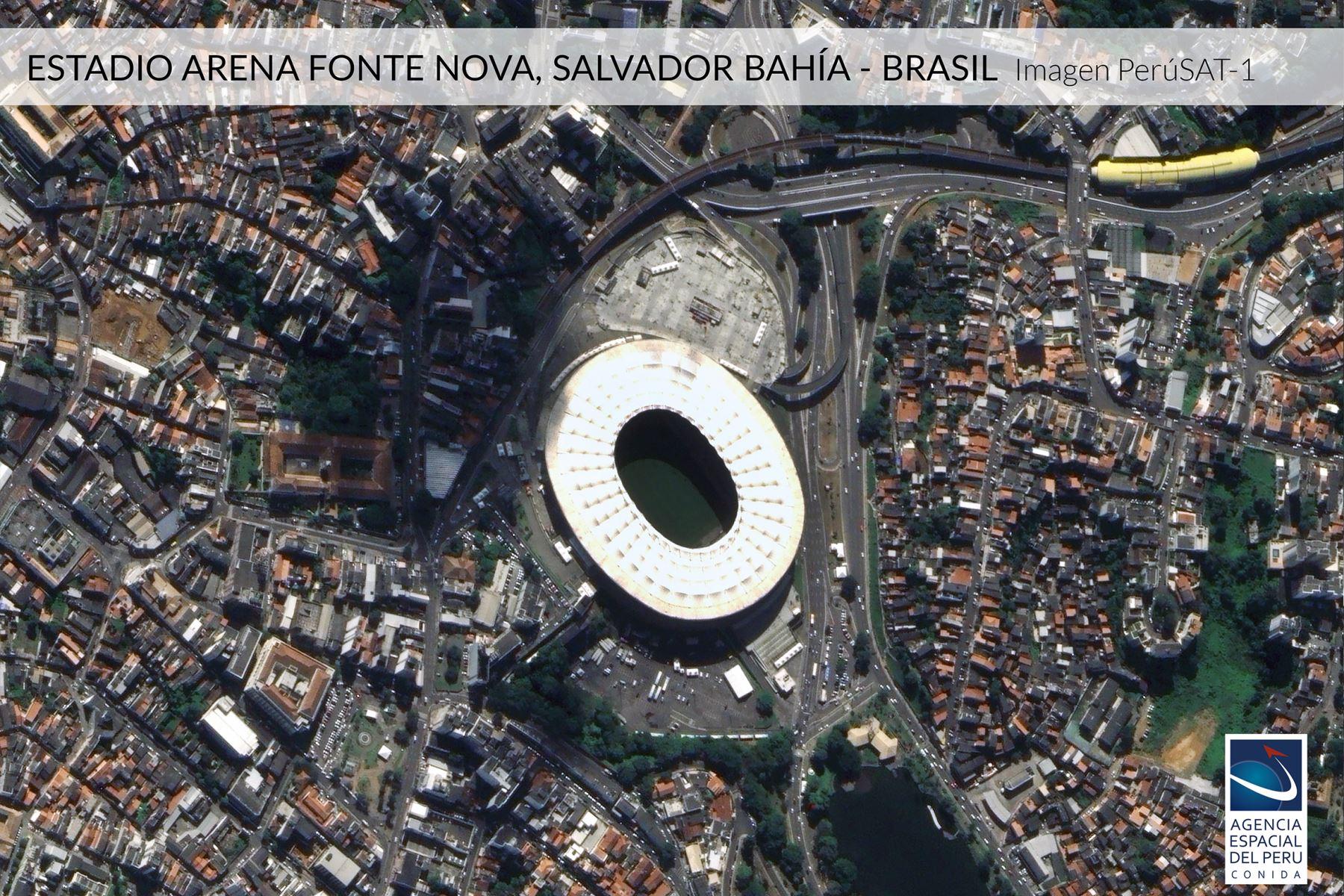 Imagen satelital del Estadio Arena Fonte Nova, Salvador Bahia-Brasil, sede de la Copa América 2019.Foto: Andina/Agencia Espacial del Perú.