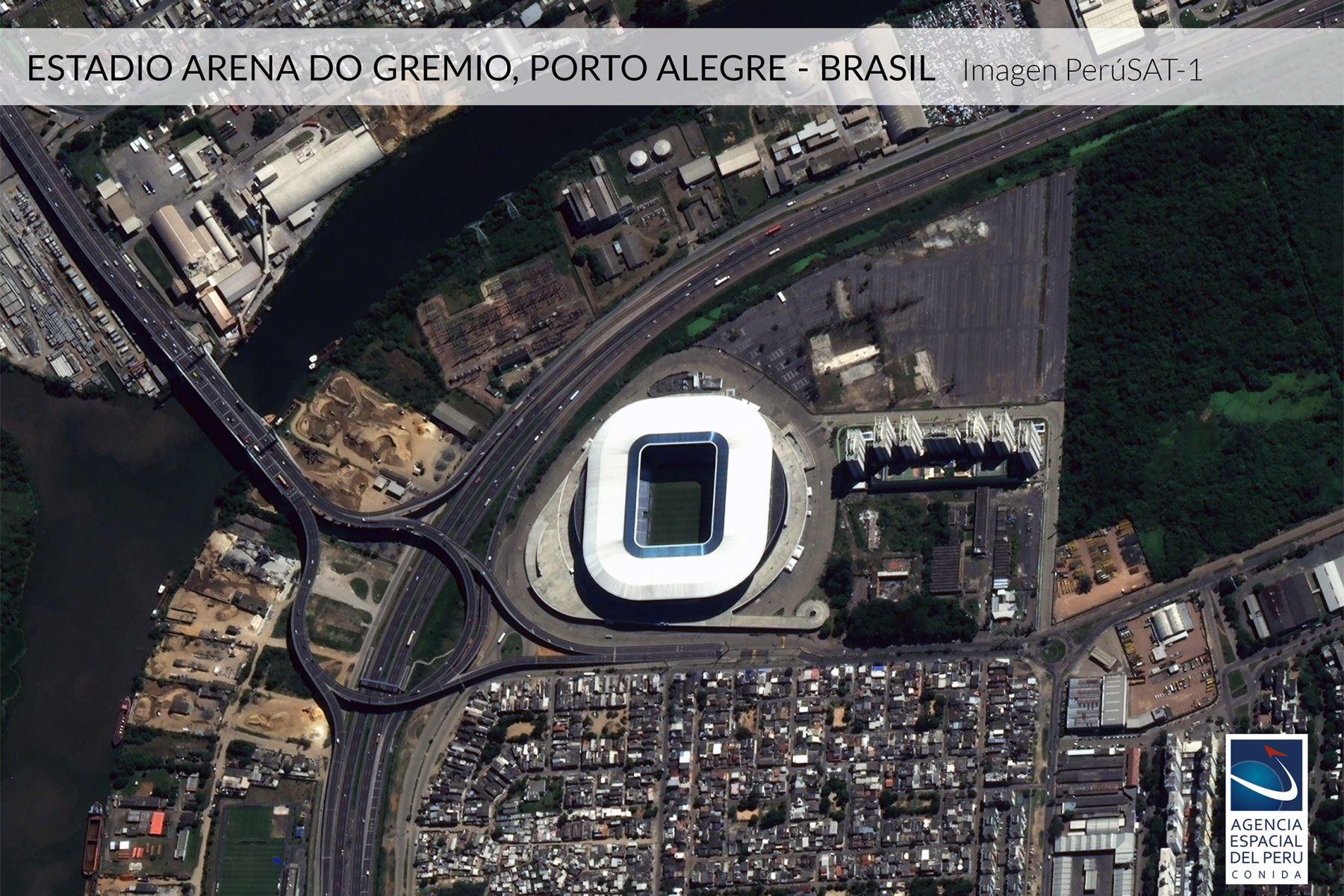 Imagen satelital del Estadio Arena Arena do Gremio-Brasil, sede de la Copa América 2019.Foto: Andina/Agencia Espacial del Perú.
