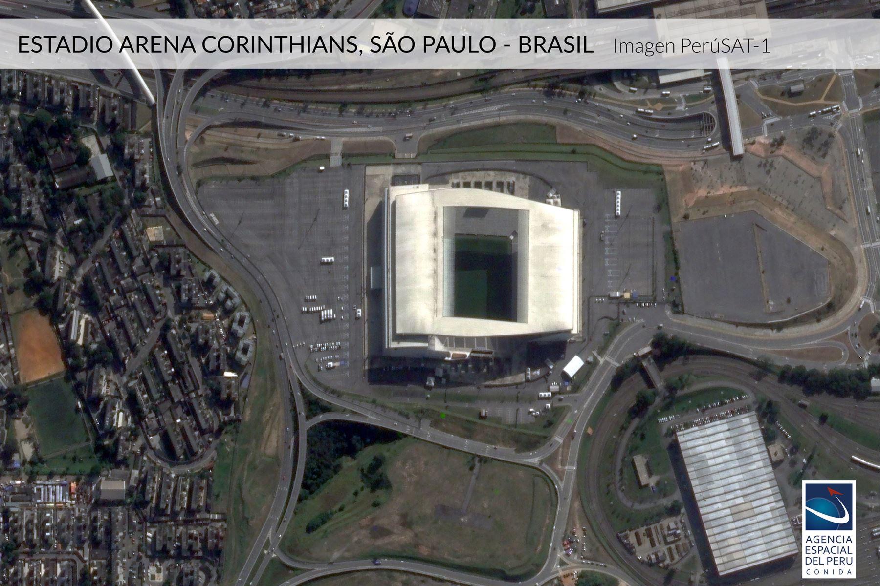 Imagen satelital del Estadio Corinthias-Brasil, sede de la Copa América 2019.Foto: Andina/Agencia Espacial del Perú.