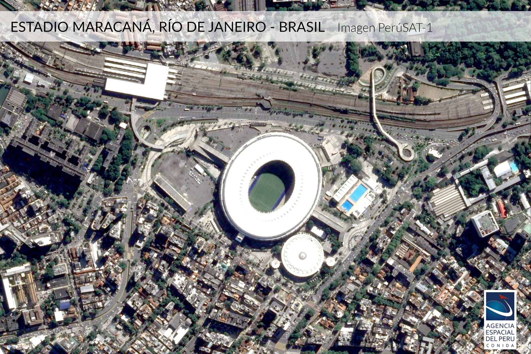Imagen satelital del Estadio Maracaná-Brasil, sede de la Copa América 2019.Foto: Andina/Agencia Espacial del Perú.