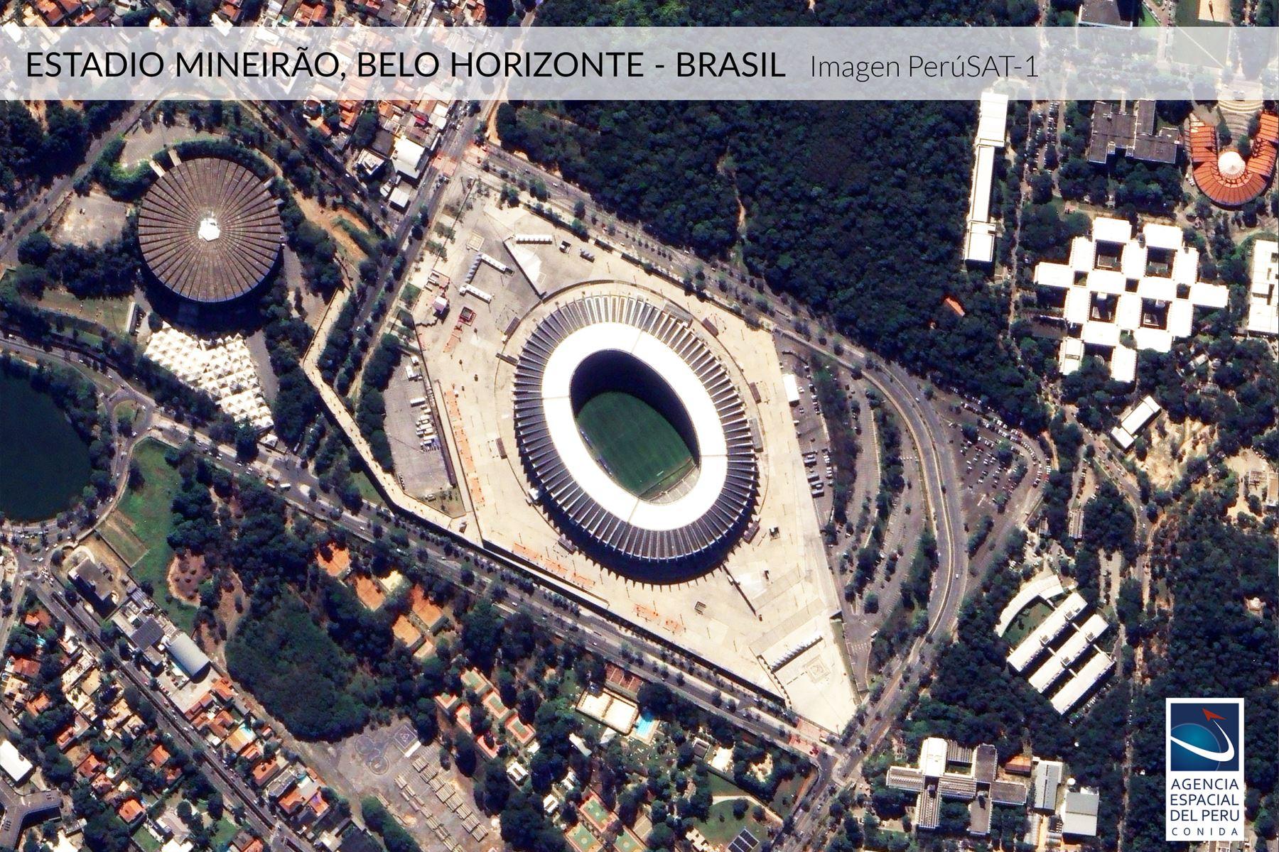 Imagen satelital del Estadio Mineirao-Brasil, sede de la Copa América 2019.Foto: Andina/Agencia Espacial del Perú.