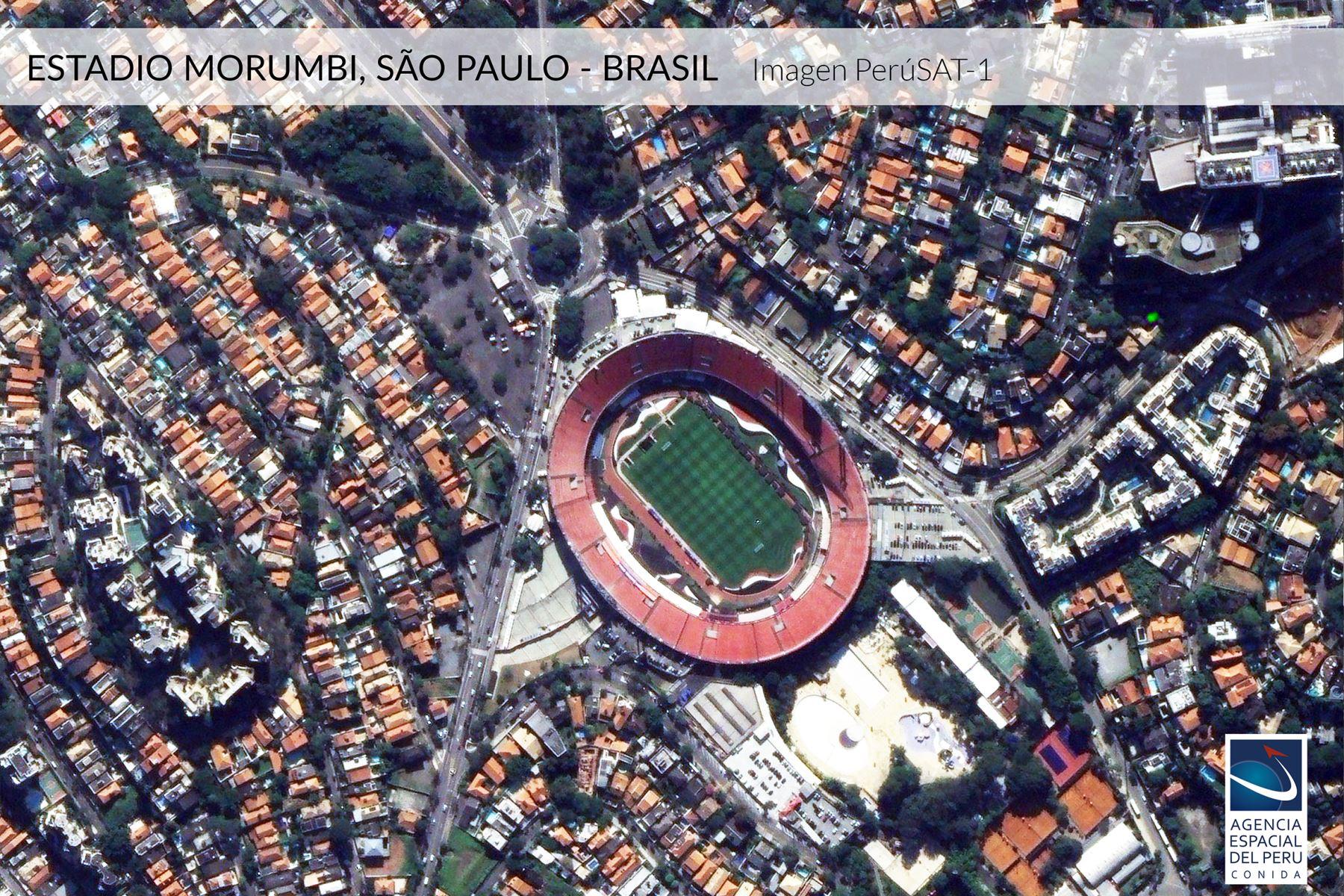 Imagen satelital del Estadio Morumbi-Brasil, sede de la Copa América 2019.Foto: Andina/Agencia Espacial del Perú.