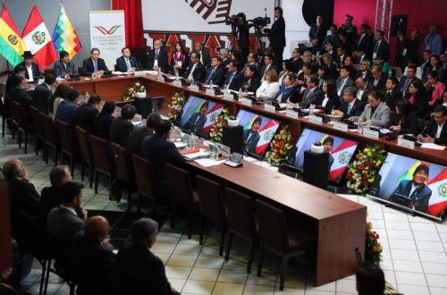 Ministros de Eestado exponen durante el V Gabinete Binacional Perú-Bolivia