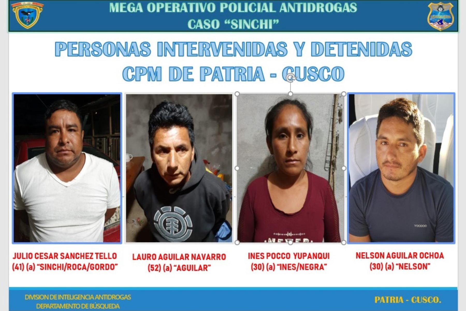 Policía captura a presuntos integrantes de banda de narcotraficantes en un operativo ejecutado en Cusco, Ayacucho y Madre de Dios. ANDINA/Difusión