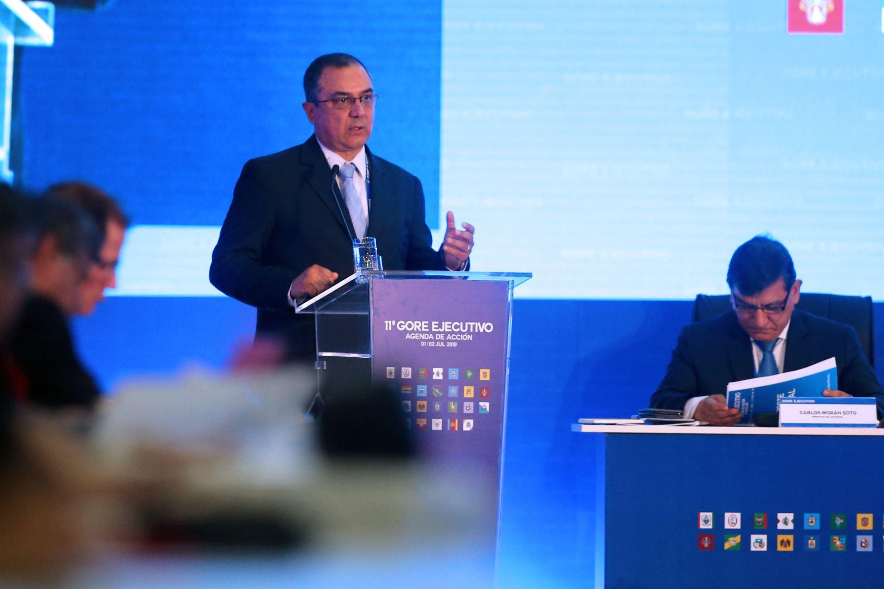 Ministro de Economía y Finanzas, Carlos Oliva, participa en 11° GORE Ejecutivo donde presenta los avances en ejecución presupuestal. Foto: ANDINA/Vidal Tarqui