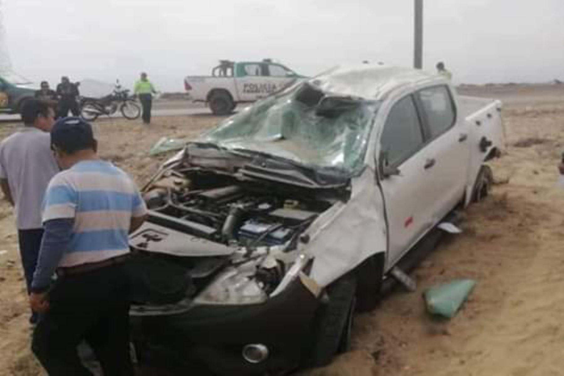 Así quedó la camioneta siniestrada en la que perdió la vida el alcalde provincial de Chepén (La Libertad), José David Lías Ventura.
