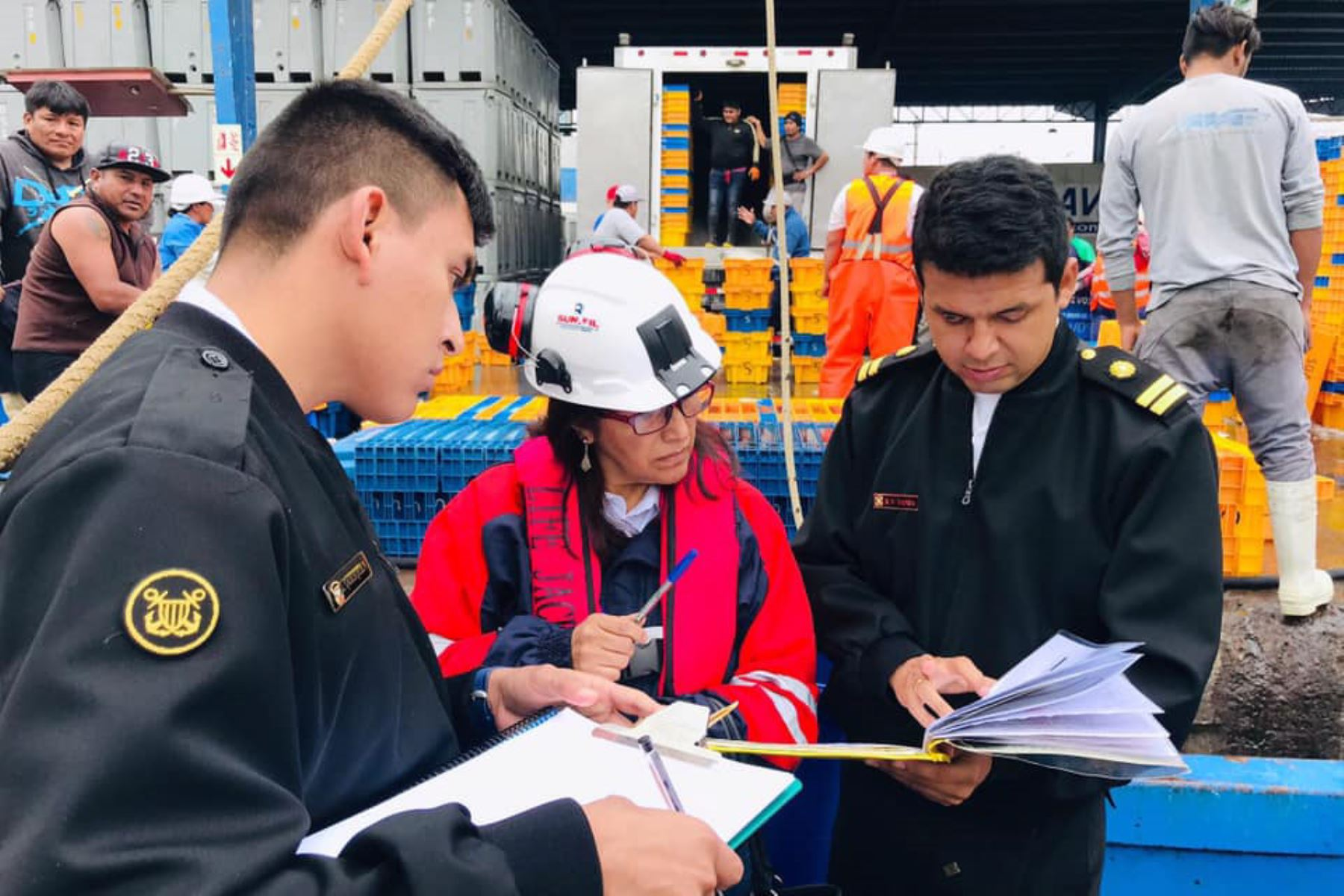 Sunafil y Dirección de Capitanías y Guardacostas verifican condiciones laborales, de seguridad y de salud de los trabajadores pesqueros. ANDINA/Difusión
