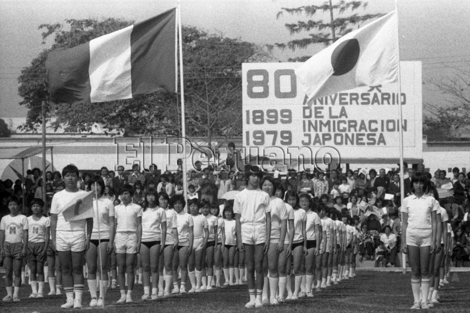 Lima - 19 agosto 1979 / Ceremonia central de la celebración del 80 aniversario de la inmigración japonesa al Perú.
