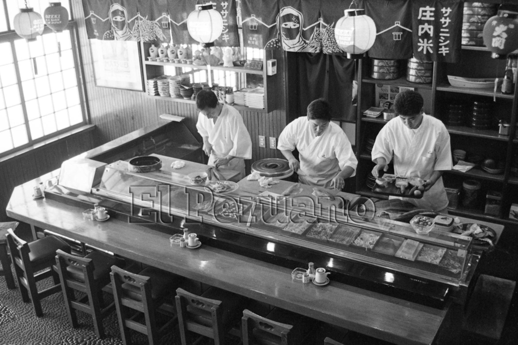 "Lima - 29 octubre 1993 / Restaurante de comida japonesa ""Matsuei""."