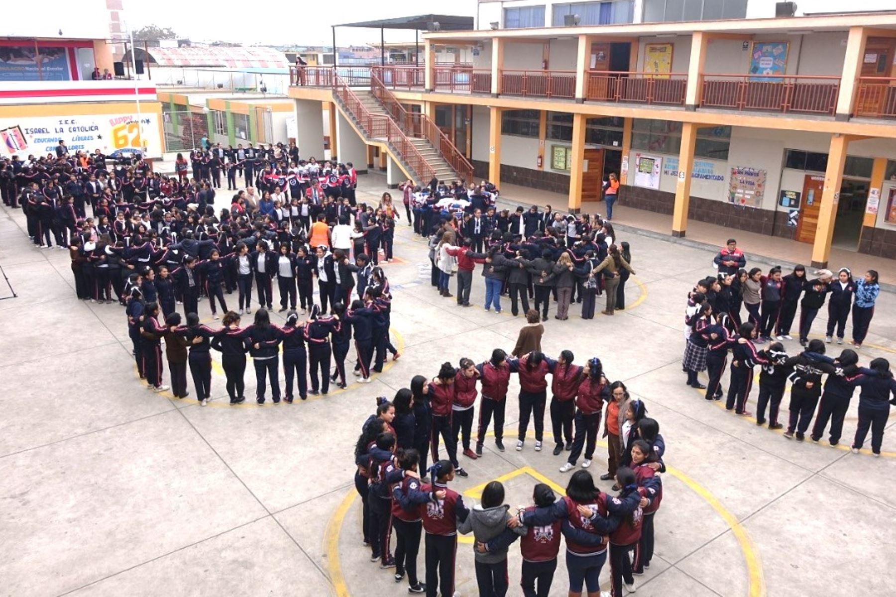 Simulacro de sismo: escolares están mejor preparados para afrontar desastres. Foto: ANDINA/Minedu.