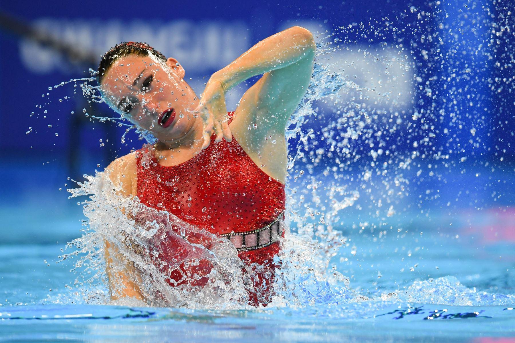 Defne Bakirci de Turquía compite en el evento de natación técnica artística en solitario durante el Campeonato Mundial 2019. Foto: AFP
