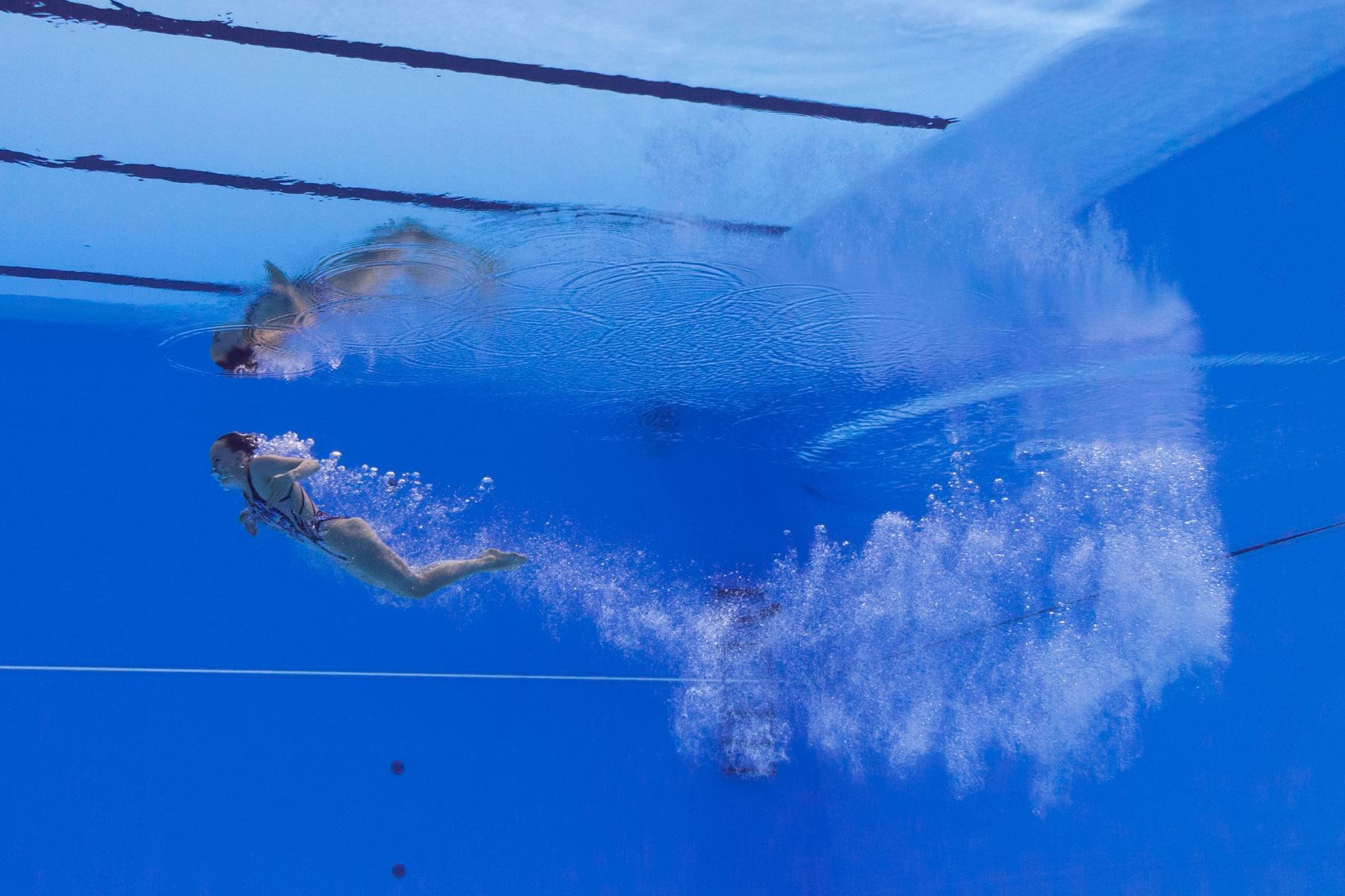 Marlene Bojer de Alemania compite en el evento de natación técnica artística en solitario durante el Campeonato Mundial 2019. Foto: AFP