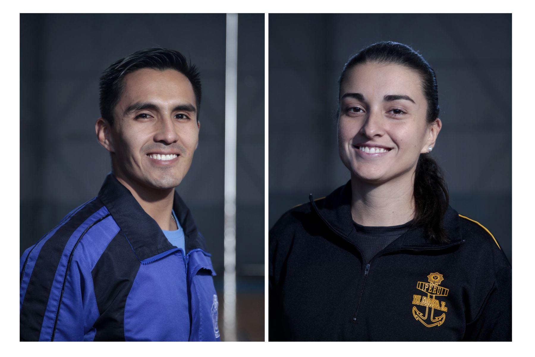 Deportistas militares clasificados a los Juegos Panamericanos Lima 2019. Kevin Altamirano Farfán y Brianda Rivera Villegas. Foto: ANDINA/Miguel Mejía Castro
