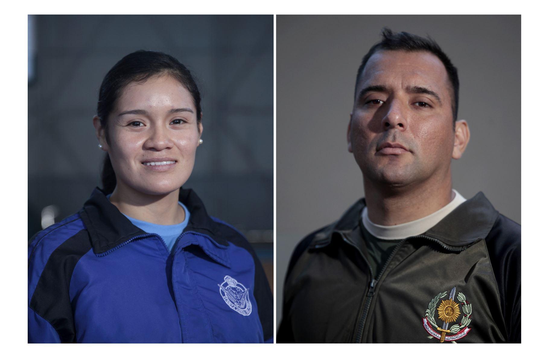 Deportistas militares clasificados a los Juegos Panamericanos Lima 2019. Liz Carrión Villanueva y Frank Alvarado Alegría. Foto: ANDINA/Miguel Mejía Castro