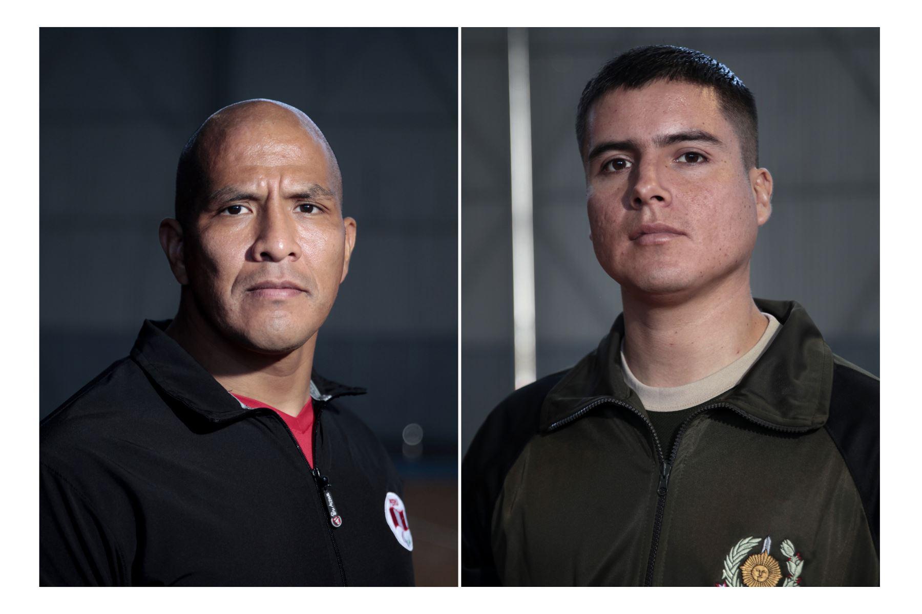 Deportistas militares clasificados a los Juegos Panamericanos Lima 2019. Carlos Felipa Córdova y Hans Alva Pierola. Foto: ANDINA/Miguel Mejía Castro