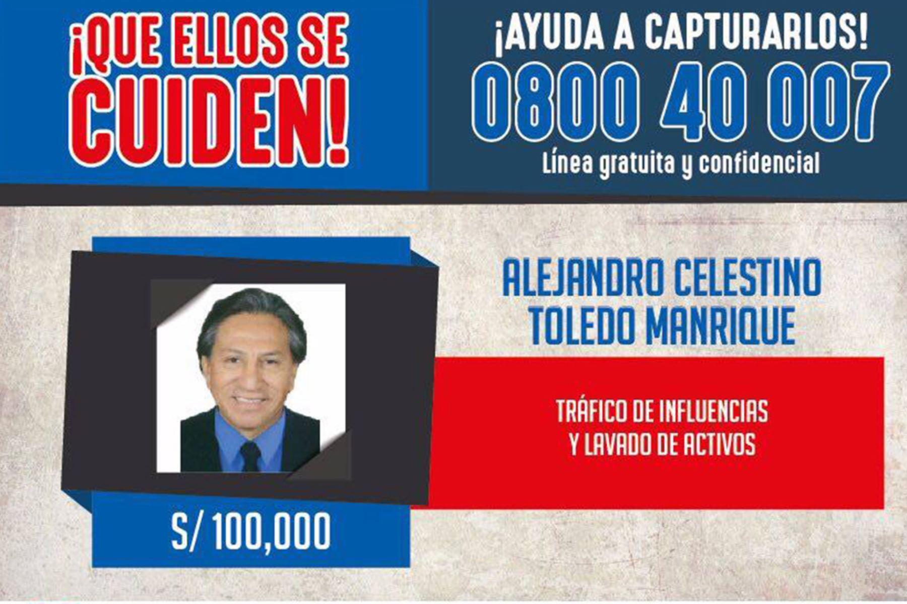 Lima - 10 febrero 2019 / El ex presidente Alejandro Toledo figura desde hoy en la lista de los más buscados dijo el ministro del Interior Carlos Basombrío. Foto: Mininter