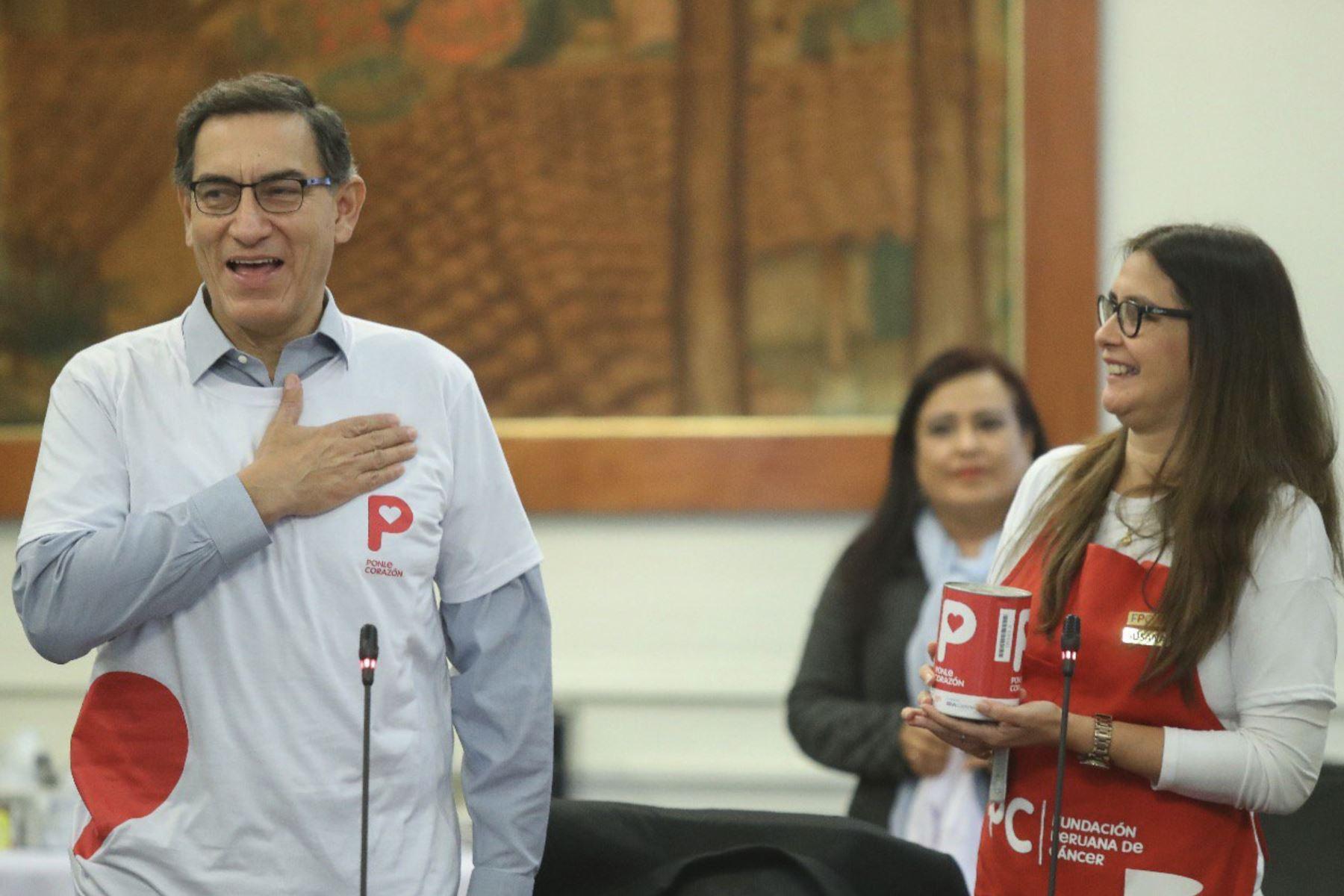 Visita de los voluntarios Ponle Corazón al Consejo de Ministros. Foto: ANDINA/Prensa Presidencia
