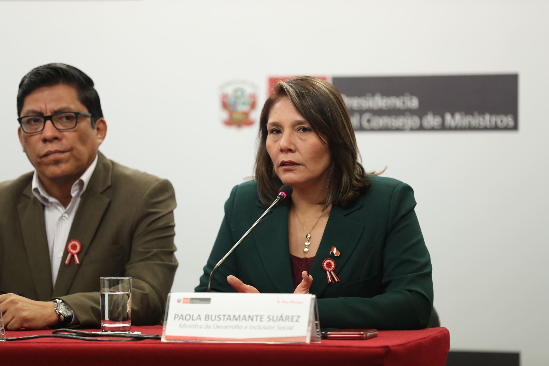 Paola Bustamante Suárez, ministra de Desarrollo e Inclusión Social brinda conferencia de prensa para abordar temas de la coyuntura nacional luego de la reunión del Consejo de Ministros. Foto: PCM